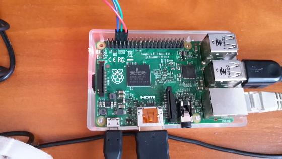 Olimex USB-Serial-Cable-F attached to Raspberry PI 2 for debugging through the serial console